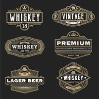 Design de moldura vintage para etiqueta de menu de emblema de logotipo de faixa de rótulos vetor