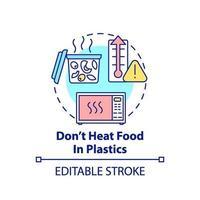não aqueça comida no ícone do conceito de plástico vetor