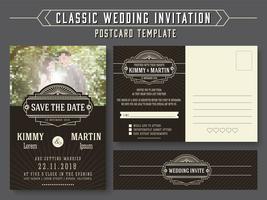 Design de cartão de convite de casamento do vintage clássico vetor