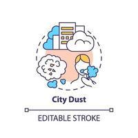 ícone do conceito de poeira da cidade. ilustração de linha fina ideia