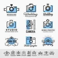 Conjunto de fotografia e design de insígnia de logotipo de serviço de câmera. vect vetor