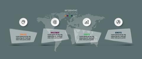 etiquetas quadradas existem etapas para contar o trabalho. descreve um plano, como publicidade e relações públicas. infográfico. vetor