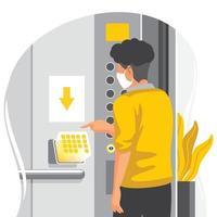 toque sem contato holográfico sem contato para o conceito de elevadores vetor