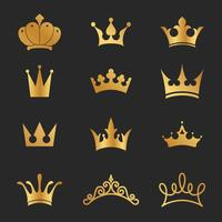 12 design de elementos de ícone de coroas diferentes vetor