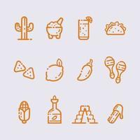 conjunto de ícone de arte em linha cinco de Mayo vetor