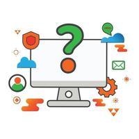 ilustração da pergunta. ilustração do computador. ilustração vetorial plana. pode usar para, elemento de design de ícone, interface do usuário, web, aplicativo móvel. vetor