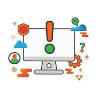 ilustração de aviso. ilustração do computador. ícone de vetor plana. pode usar para, elemento de design de ícone, interface do usuário, web, aplicativo móvel.