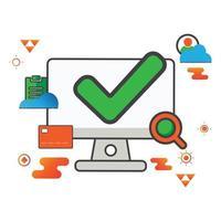 ilustração da marca de seleção. ilustração do computador. ícone de vetor plana. pode usar para, elemento de design de ícone, interface do usuário, web, aplicativo móvel.