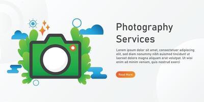 modelo de página de destino de serviços de fotografia. designs criativos de modelo de site. ilustração em vetor editável.