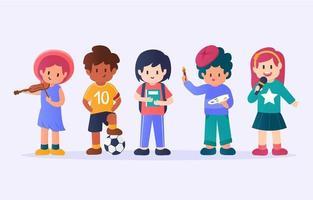 coleção de personagens de crianças fofas vetor