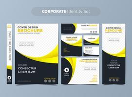 Conjunto de identidade corporativa amarelo vetor