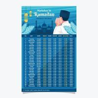 modelo de calendário de ornamento islâmico vetor