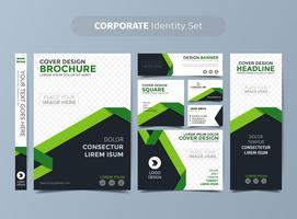 Conjunto de identidade corporativa verde vetor
