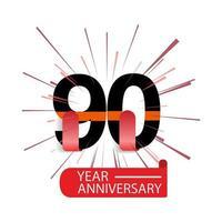 Ilustração de design de modelo vetorial de aniversário de 90 anos vetor