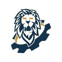modelo de símbolo de design de engrenagem cabeça de leão isolado vetor