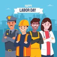 trabalhadores estão juntos celebrando o dia do trabalho vetor