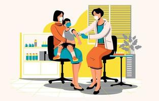 conceito de vacinação infantil vetor