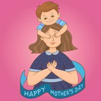 menino surpreendendo a mãe no dia das mães vetor
