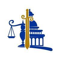 ícone de vetor de design de equilíbrio de espada de escritório de justiça legal isolado