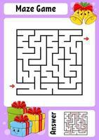 labirinto quadrado. jogo para crianças. tema de inverno. labirinto engraçado. planilha de desenvolvimento de educação. página de atividades. estilo de desenho animado. enigma para a pré-escola. enigma lógico. ilustração do vetor de cor.