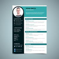 Modelo de Design de Currículo Azul Verde vetor