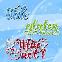 conjunto de letras. sem glúten, venda, vinho não. desenhado à mão. ilustração vetorial. elemento de design. vetor