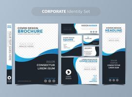 Conjunto de identidade corporativa azul escuro vetor