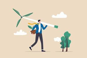 negócios verdes, ecológicos na crise das mudanças climáticas ou conceito de sustentabilidade, empresário inteligente carregando turbinas eólicas e mudas de plantas para criar energia verde. vetor
