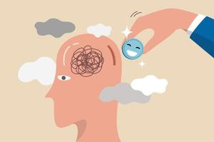 felicidade para doenças mentais, relaxamento. vetor