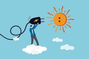 energia solar solar, energia natural de ecologia e energia para salvar o conceito de mundo, engenheiro trabalhador de tecnologia solar segurando um plugue elétrico para conectar-se ao sol, ideia de obter eletricidade sustentável. vetor