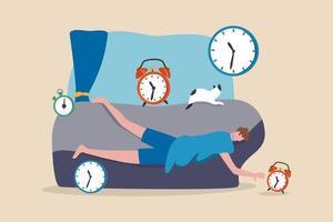 preguiça, homem sobrecarregado de baixa energia ou conceito de procrastinação improdutiva, homem de escritório dormindo sem energia não consegue acordar de manhã após fadiga, excesso de trabalho, baixa moral, não quero ir para o trabalho. vetor