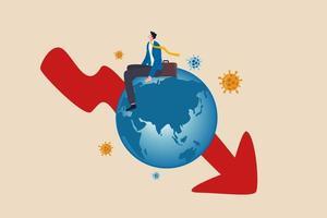 recessão econômica global, pandemia de coronavírus covid-19 causando conceito de grande depressão mundial, empresário pobre deprimido sentado no globo da doença com seta vermelha para baixo gráfico com patógeno do vírus. vetor