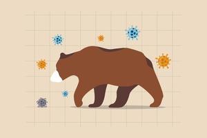 mercado de urso causando pela crise econômica mundial covid-19 do coronavírus, queda do mercado de ações pelo conceito de crise financeira, urso triste e deprimido usando máscara no gráfico de preços das ações com patógeno do vírus.