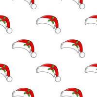 chapéu de Papai Noel de cor padrão sem emenda. estilo de desenho animado. design brilhante. para papel de parede, cartaz, banner. desenhado à mão. ilustração vetorial isolada no fundo branco. vetor