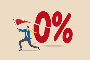 banco central do governo, reserva federal, fed cortou taxa de juros para taxas de juros negativas para estímulo econômico no conceito de pandemia de coronavírus, empresário cortou número 0 por cento com sua espada. vetor