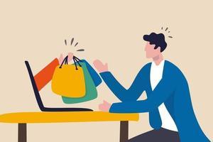 compras on-line e entrega expressa, site de comércio eletrônico para solicitar através do conceito de internet, jovem sentado em casa usando o laptop do computador para solicitar produtos do site com uma mão amiga a entregar sacolas de compras. vetor