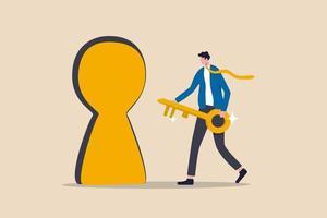 chave para o sucesso, desbloquear a porta secreta para o crescimento dos negócios, oportunidade de carreira ou conceito de realização de metas, empresário de confiança segurando a chave de ouro e correndo para desbloquear a fechadura para alcançar a meta vetor