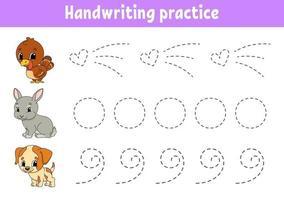 pactice de caligrafia. planilha de desenvolvimento de educação. página de atividades. jogo de cores para crianças. ilustração isolada do vetor. Personagem de desenho animado. vetor