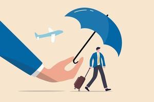 seguro de viagem, proteção para o viajante antes de voar no conceito da era do coronavírus covid-19, mão mágica segurando o guarda-chuva como escudo e guarda para proteger o viajante que está caminhando no aeroporto. vetor