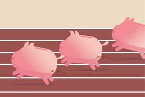 fundos mútuos, desempenho de investimento em ações ou poupança, conceito de lucro de negócios, cofrinhos rosa correndo rápido para alcançar a meta, eles competem na pista de corrida e caminho de campo para ganhar o jogo do dinheiro das finanças. vetor