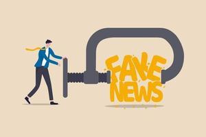 pare de notícias falsas e desinformação se espalhando no conceito de internet e mídia, o líder do empresário espremendo e destruindo a palavra de notícias falsas. vetor