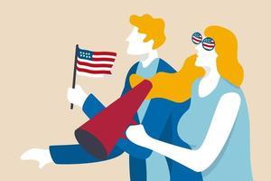 eleição presidencial dos EUA, voto do líder dos Estados Unidos ou pessoas eleitores à espera do conceito de resultado presidencial, empolgar os jovens eleitores dos EUA seguram um megafone e a bandeira nacional dos EUA à espera do resultado da votação. vetor