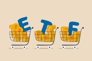 etf, fundos negociados em bolsa fundos mútuos em tempo real que rastreiam a negociação de índices de investimento no conceito de mercado de ações, carrinhos de compras ou carrinho cheio de moedas de dólar com alfabeto combinam a palavra etf vetor