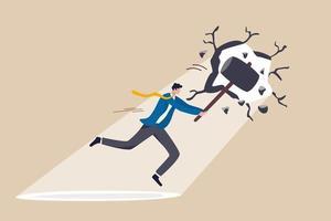 romper fronteira ou limite de negócios, quebrar a parede para ver novas oportunidades de trabalho ou conceito de desafio de carreira, empresário de superpotência rachar ou quebrar a parede com um martelo para ver a luz do lado de fora vetor