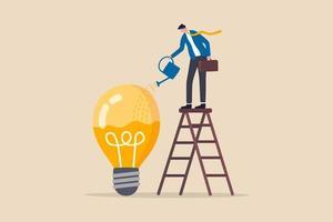 desenvolvimento de ideias, gênio da criatividade ou conhecimento para pensar sobre uma nova ideia de negócio, melhoria de habilidades ou conceito de crescimento de carreira, empresário inteligente na rega da escada para preencher o líquido na lâmpada da ideia vetor