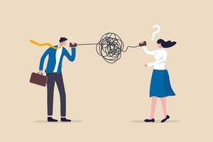 má comunicação, mal-entendido criam confusão no trabalho, mal comunicam mensagem pouco clara e conceito de informação, empresário falando em meio ao caos bagunçado, linha telefônica emaranhada confunde outros. vetor