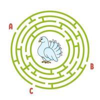 círculo labirinto. jogo para crianças. quebra-cabeça para crianças. enigma do labirinto redondo. ilustração do vetor de cor. encontre o caminho certo. planilha de educação.