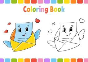 livro de colorir para envelope de crianças. Personagem de desenho animado. ilustração vetorial. página de fantasia para crianças. Dia dos Namorados. silhueta de contorno preto. isolado no fundo branco. vetor