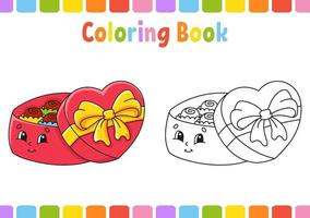 livro de colorir para crianças caixa de doces. Personagem de desenho animado. ilustração vetorial. página de fantasia para crianças. Dia dos Namorados. silhueta de contorno preto. isolado no fundo branco. vetor