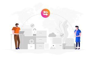 transferência de dados com tecnologia de nuvem de internet vetor